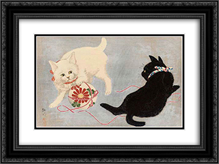 Cats with Ball 24x18 Black or Gold Ornate Framed and Double Matted Art Print by Shotei Takahashi
