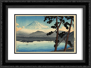 Fuji from Lake Shojin 24x18 Black or Gold Ornate Framed and Double Matted Art Print by Shotei Takahashi