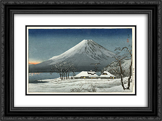 Fuji from Lake Yamanaka 24x18 Black or Gold Ornate Framed and Double Matted Art Print by Shotei Takahashi