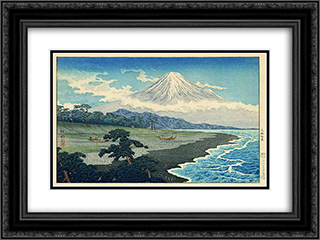 Fuji from Miho no Matsubara 24x18 Black or Gold Ornate Framed and Double Matted Art Print by Shotei Takahashi