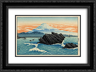 Fuji from Okitsu 24x18 Black or Gold Ornate Framed and Double Matted Art Print by Shotei Takahashi