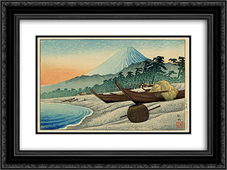 Fuji from Senbon Beach 24x18 Black or Gold Ornate Framed and Double Matted Art Print by Shotei Takahashi