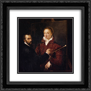 Bernardino Campi Painting Sofonisba Anguissola 20x20 Black or Gold Ornate Framed and Double Matted Art Print by Sofonisba Anguissola