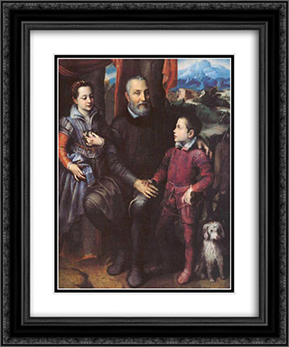 Family Portrait, Minerva, Amilcare and Asdrubale Anguissola 20x24 Black or Gold Ornate Framed and Double Matted Art Print by Sofonisba Anguissola