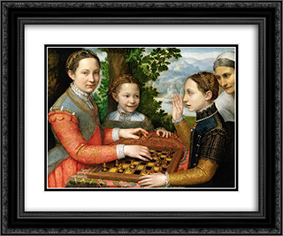 Lucia, Minerva and Europa Anguissola Playing Chess 24x20 Black or Gold Ornate Framed and Double Matted Art Print by Sofonisba Anguissola
