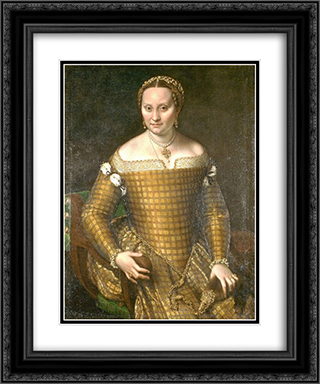Portrait of Bianca Ponzoni Anguissola, the artist's mother 20x24 Black or Gold Ornate Framed and Double Matted Art Print by Sofonisba Anguissola