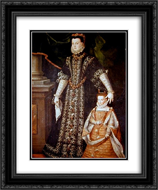 Portrait of Diane d'Andouins and her daughter 20x24 Black or Gold Ornate Framed and Double Matted Art Print by Sofonisba Anguissola
