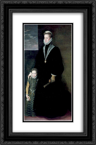 Portrait of Juana of Austria with a Young Girl 16x24 Black or Gold Ornate Framed and Double Matted Art Print by Sofonisba Anguissola