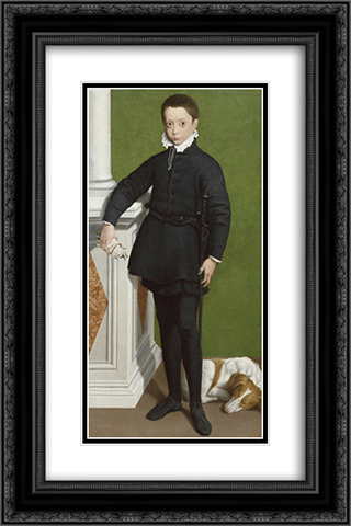 Portrait of Massimiliano Stampa 16x24 Black or Gold Ornate Framed and Double Matted Art Print by Sofonisba Anguissola
