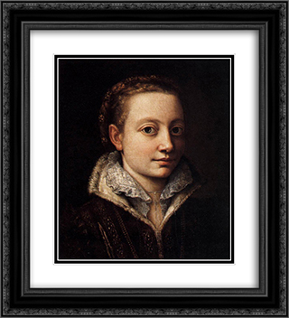 Portrait of Minerva Anguissola 20x22 Black or Gold Ornate Framed and Double Matted Art Print by Sofonisba Anguissola