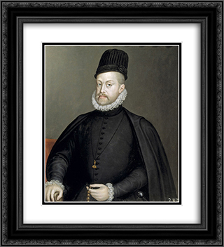 Portrait of Philipp II of Spain 20x22 Black or Gold Ornate Framed and Double Matted Art Print by Sofonisba Anguissola