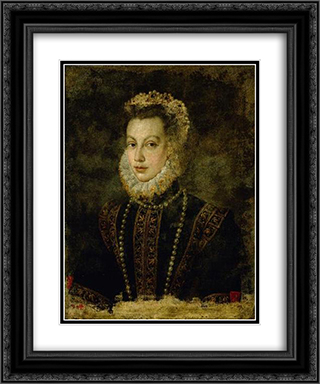 Portrait of Queen Elisabeth of Spain 20x24 Black or Gold Ornate Framed and Double Matted Art Print by Sofonisba Anguissola