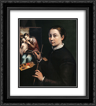 Self-portrait at the easel 20x22 Black or Gold Ornate Framed and Double Matted Art Print by Sofonisba Anguissola