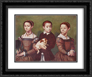 Three children with dog 24x20 Black or Gold Ornate Framed and Double Matted Art Print by Sofonisba Anguissola