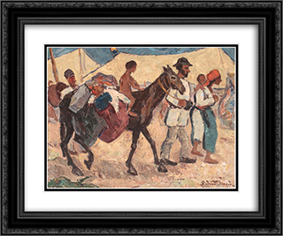 At the Market 24x20 Black or Gold Ornate Framed and Double Matted Art Print by Stefan Dimitrescu