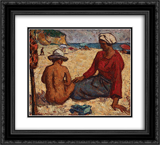 Balchik Beach 22x20 Black or Gold Ornate Framed and Double Matted Art Print by Stefan Dimitrescu