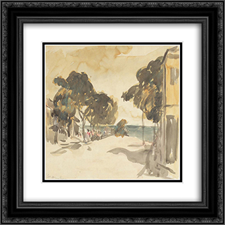 Balchik Corner 20x20 Black or Gold Ornate Framed and Double Matted Art Print by Stefan Dimitrescu