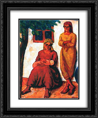 Gypsies from Dobruja 20x24 Black or Gold Ornate Framed and Double Matted Art Print by Stefan Dimitrescu