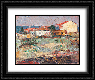 Houses in Mangalia 24x20 Black or Gold Ornate Framed and Double Matted Art Print by Stefan Dimitrescu