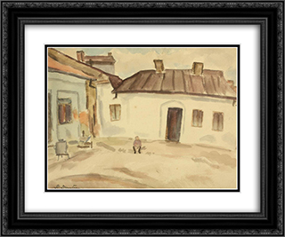 In front of the House 24x20 Black or Gold Ornate Framed and Double Matted Art Print by Stefan Dimitrescu