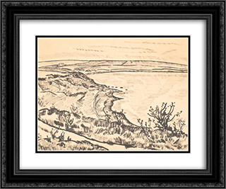 Mangalia Beach 24x20 Black or Gold Ornate Framed and Double Matted Art Print by Stefan Dimitrescu
