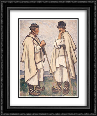 Peasant Counsel 20x24 Black or Gold Ornate Framed and Double Matted Art Print by Stefan Dimitrescu