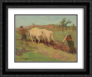 Ploughing 24x20 Black or Gold Ornate Framed and Double Matted Art Print by Stefan Dimitrescu