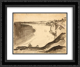 Seashore 24x20 Black or Gold Ornate Framed and Double Matted Art Print by Stefan Dimitrescu