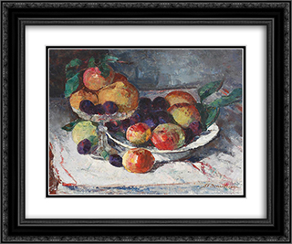 Still Life with Ripe Fruits 24x20 Black or Gold Ornate Framed and Double Matted Art Print by Stefan Dimitrescu