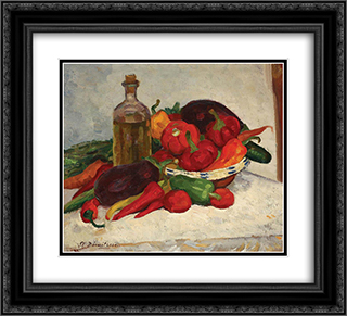 Still Life with Ripe Vegetables 22x20 Black or Gold Ornate Framed and Double Matted Art Print by Stefan Dimitrescu