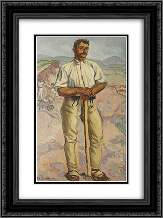 Stone Crusher (Portrait of a Peasant) 18x24 Black or Gold Ornate Framed and Double Matted Art Print by Stefan Dimitrescu