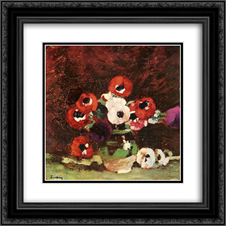 Anemone Flowers 20x20 Black or Gold Ornate Framed and Double Matted Art Print by Stefan Luchian