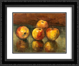 Apples 24x20 Black or Gold Ornate Framed and Double Matted Art Print by Stefan Luchian