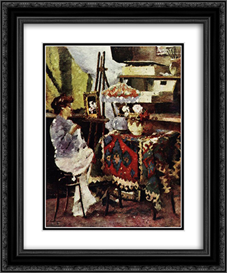 Artist's studio 20x24 Black or Gold Ornate Framed and Double Matted Art Print by Stefan Luchian