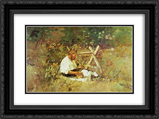 At Nami (wood cutter) 24x18 Black or Gold Ornate Framed and Double Matted Art Print by Stefan Luchian
