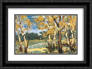 Autumn Woods 24x18 Black or Gold Ornate Framed and Double Matted Art Print by Stefan Luchian