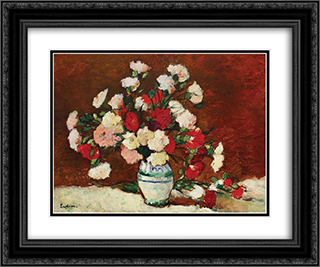 Carnations 24x20 Black or Gold Ornate Framed and Double Matted Art Print by Stefan Luchian