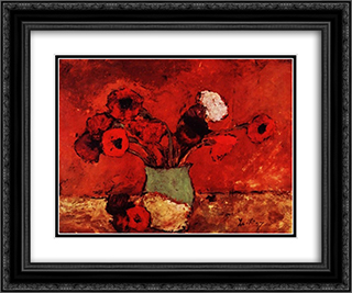 Carnations and Poppies 24x20 Black or Gold Ornate Framed and Double Matted Art Print by Stefan Luchian