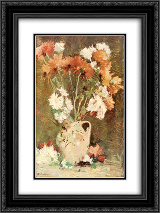 Chrysanthemums 18x24 Black or Gold Ornate Framed and Double Matted Art Print by Stefan Luchian