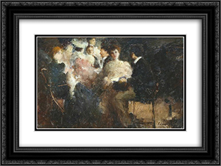 Composition 24x18 Black or Gold Ornate Framed and Double Matted Art Print by Stefan Luchian
