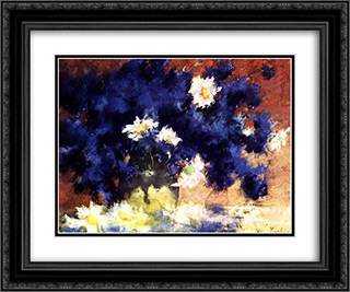 Cornflowers 24x20 Black or Gold Ornate Framed and Double Matted Art Print by Stefan Luchian