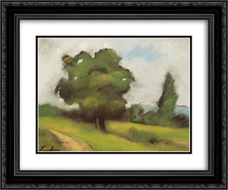 Countryside Path (Brebu) 24x20 Black or Gold Ornate Framed and Double Matted Art Print by Stefan Luchian