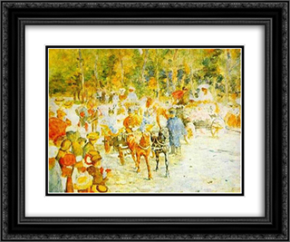 Flower Fight on the Road 24x20 Black or Gold Ornate Framed and Double Matted Art Print by Stefan Luchian