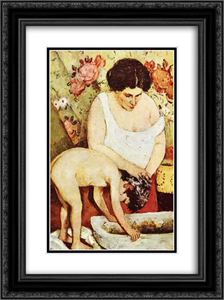 Hair Washing 18x24 Black or Gold Ornate Framed and Double Matted Art Print by Stefan Luchian