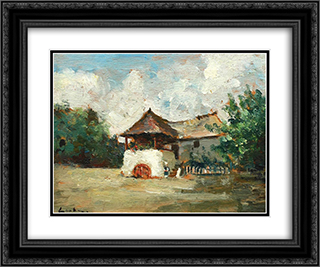 House in Oltenia 24x20 Black or Gold Ornate Framed and Double Matted Art Print by Stefan Luchian
