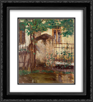 House with fence 20x22 Black or Gold Ornate Framed and Double Matted Art Print by Stefan Luchian