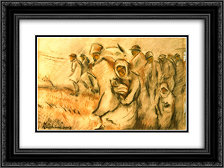 Insurgent Peasants 24x18 Black or Gold Ornate Framed and Double Matted Art Print by Stefan Luchian