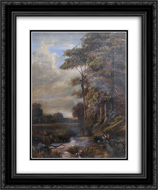 Landscape 20x24 Black or Gold Ornate Framed and Double Matted Art Print by Stefan Luchian