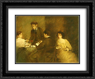 Literary meeting 24x20 Black or Gold Ornate Framed and Double Matted Art Print by Stefan Luchian