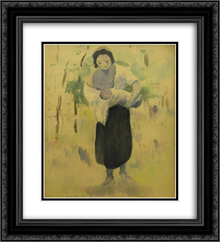 Mother with baby 20x22 Black or Gold Ornate Framed and Double Matted Art Print by Stefan Luchian